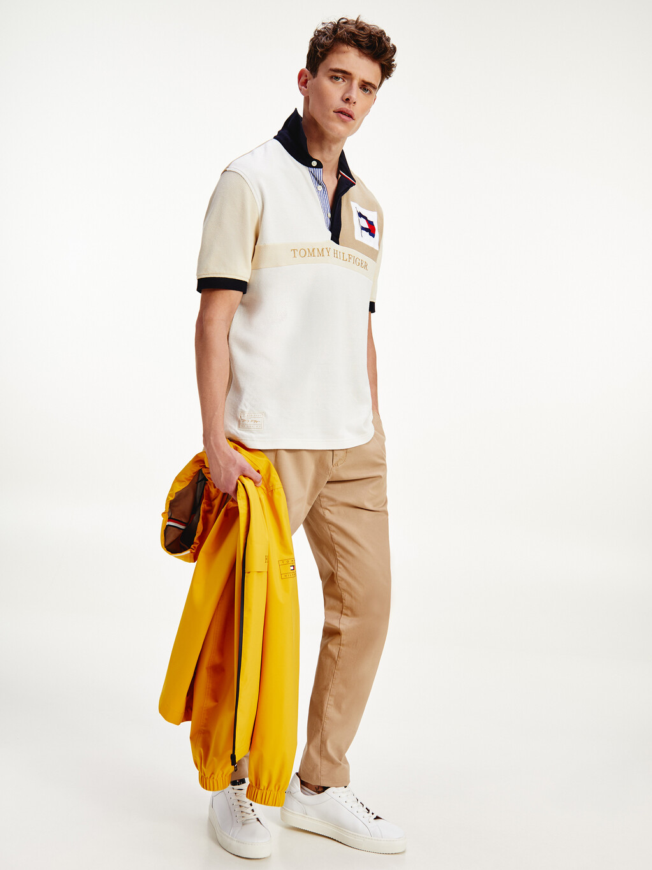 Tonal Colour-Blocked Pure Cotton Polo
