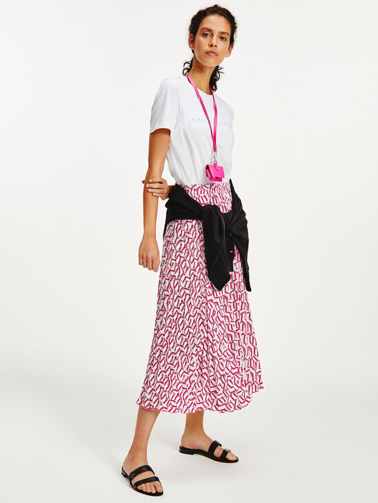 TH Monogram Pleated Midi Skirt