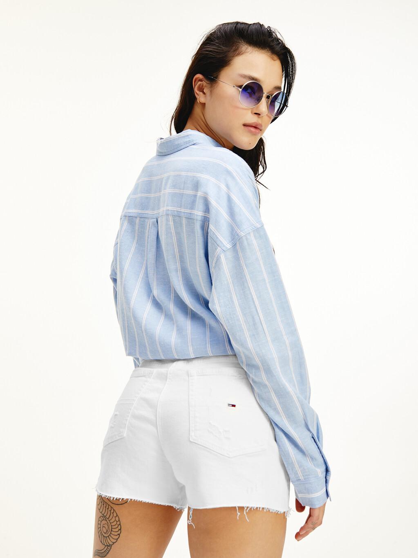 Stripe Linen Viscose Self-Tie Knot Shirt