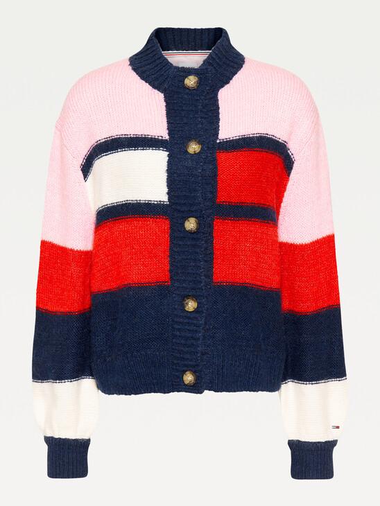 Colour-Blocked High Neck Cardigan