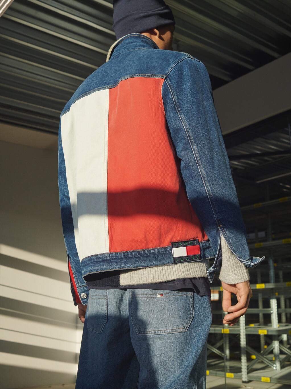 Colour-Blocked Oversized Denim Jacket
