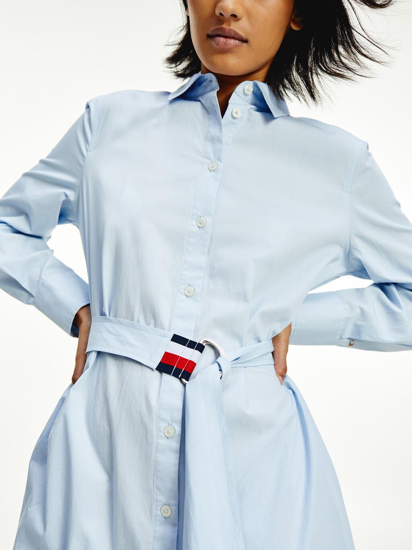 Stripe Belt Midi Shirt Dress