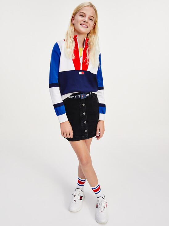 Monogram Button Front A-Line Denim Skirt