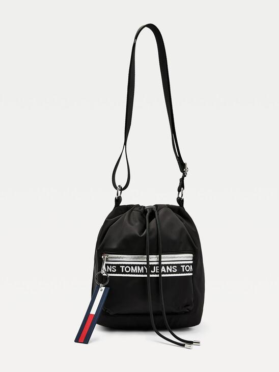 Logo Tape Drawstring Bucket Bag