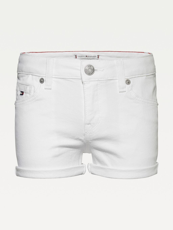 Nora White Denim Turn-Up Shorts
