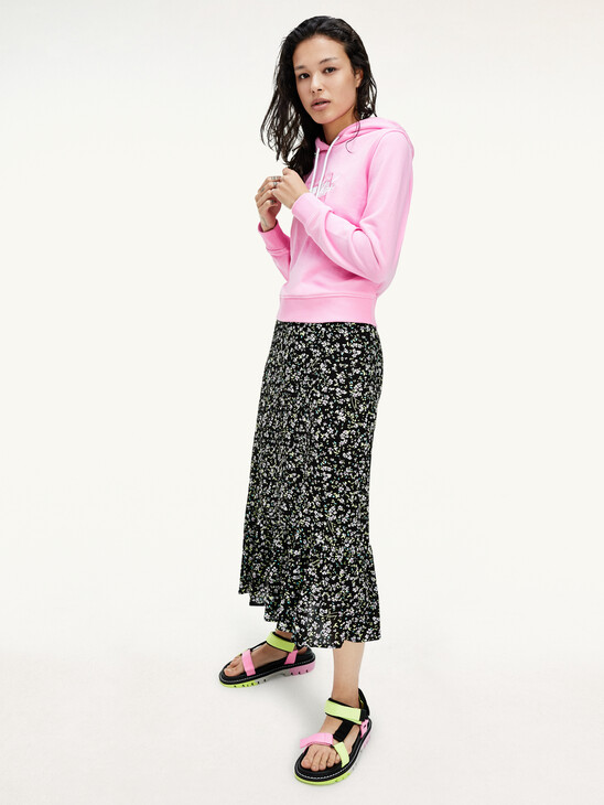 Viscose Floral Print Midi Skirt