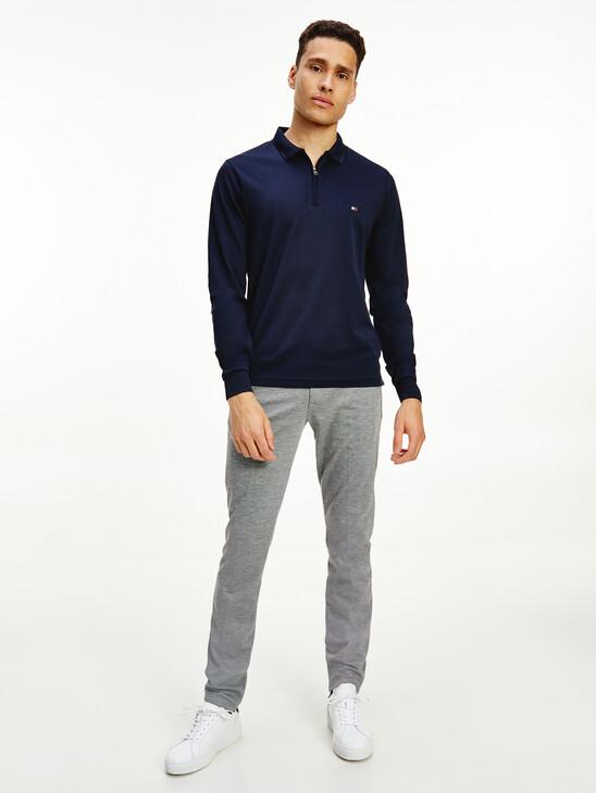 Half-Zip Slim Fit Long Sleeve Polo