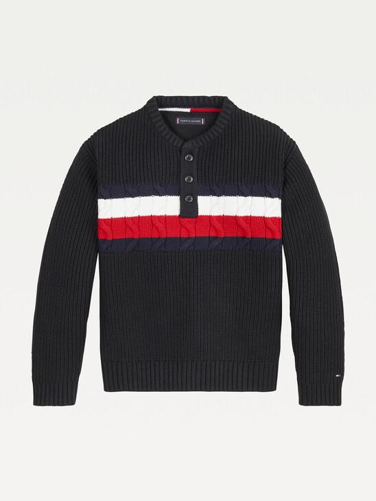 Mixed Knit Henley Jumper