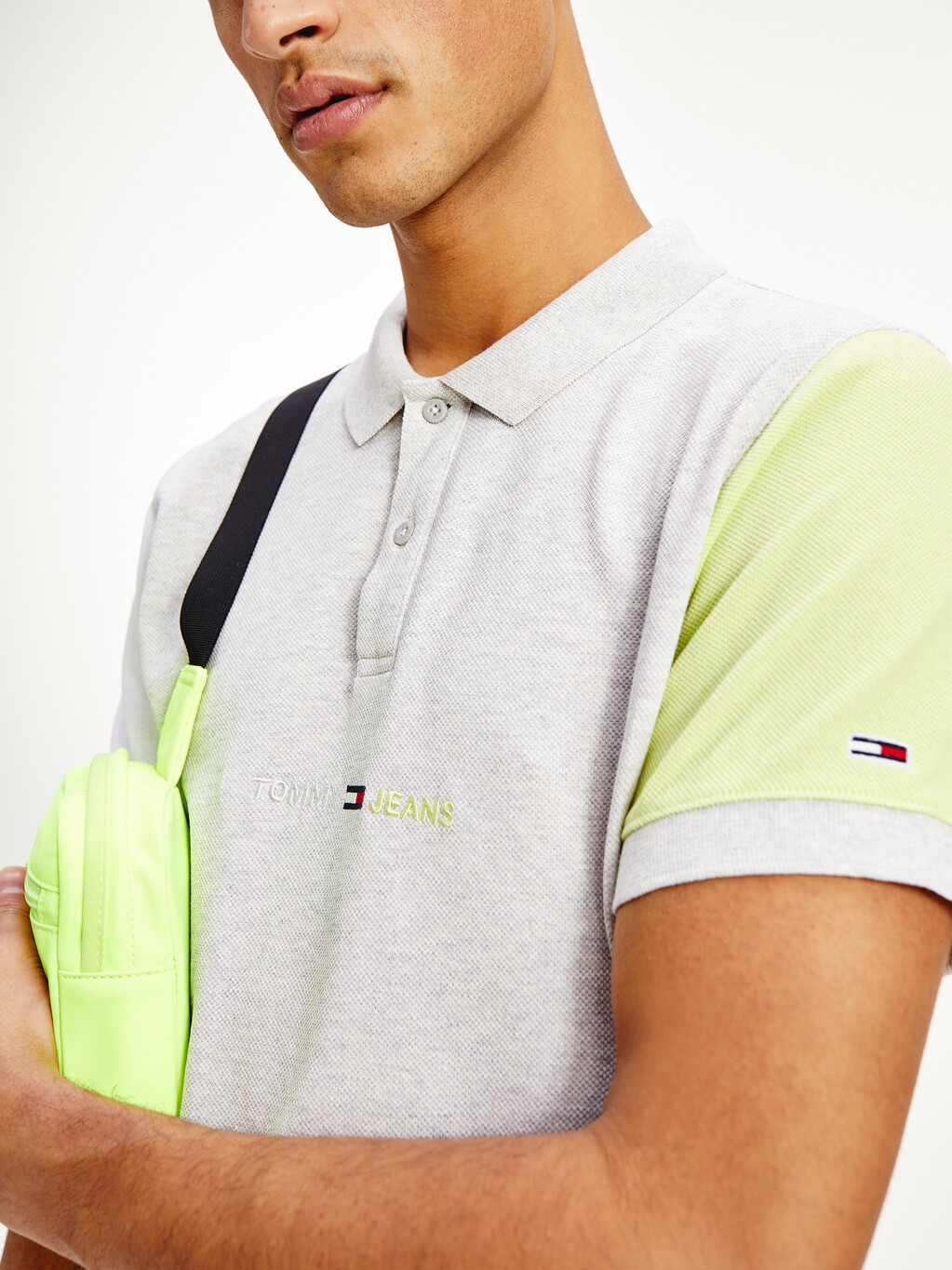 Colour-Blocked Sleeve Recycled Cotton Polo