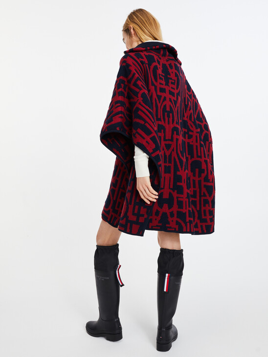 Oversized Spell Out Print Cape