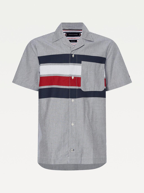 Bold Stripe Print Short Sleeve Shirt