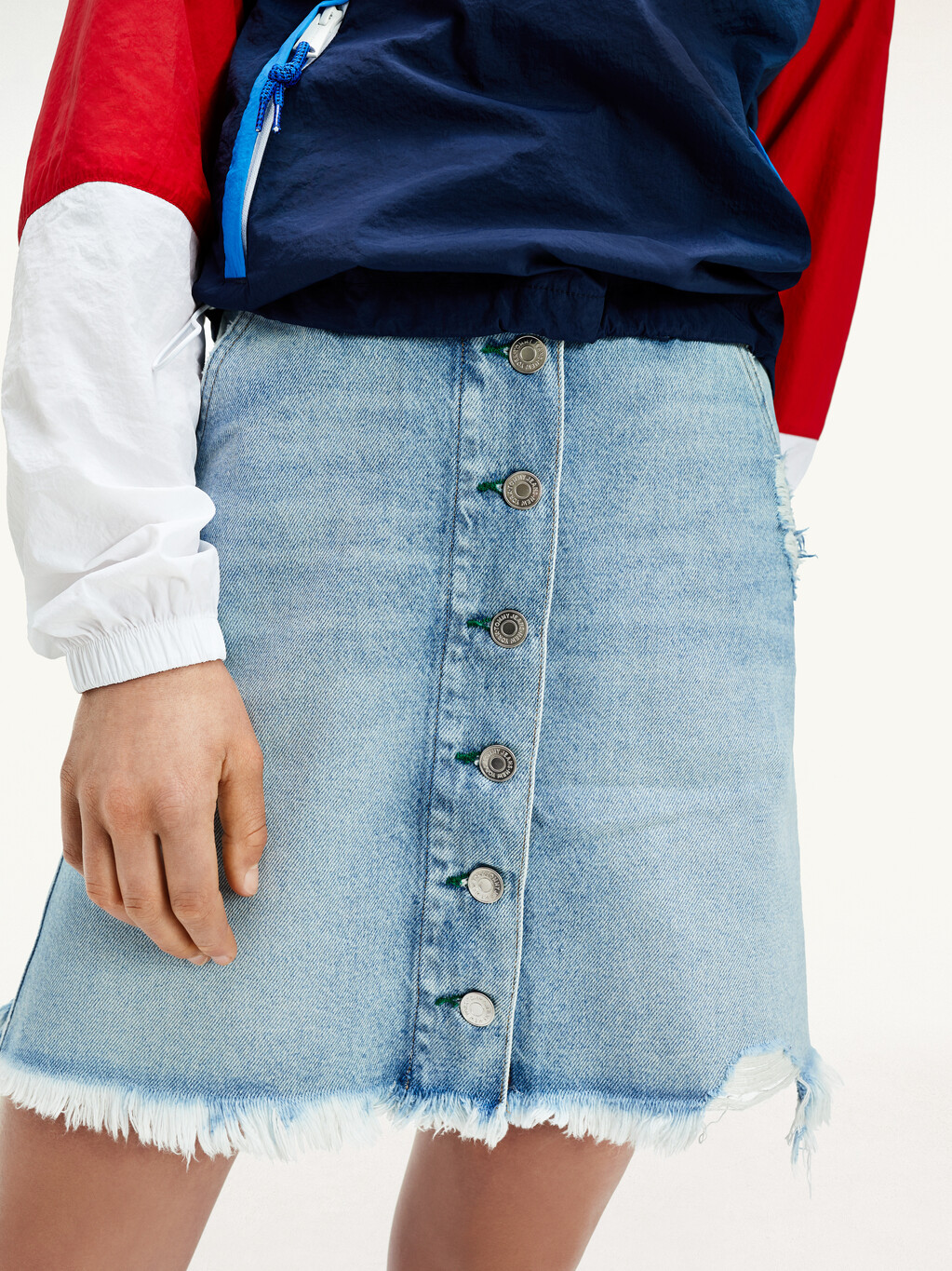 Recycled Denim Faded A-Line Skirt