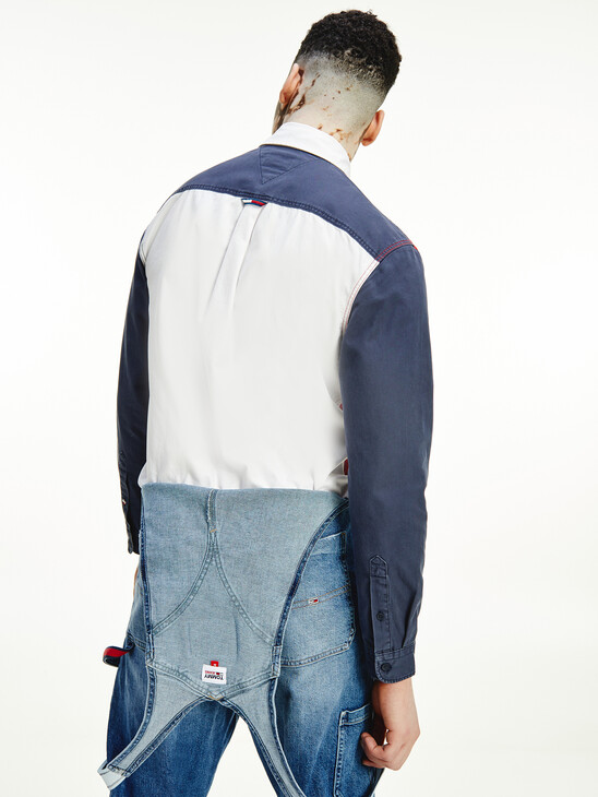 Tommy Badge Washed Colour-Blocked Shirt