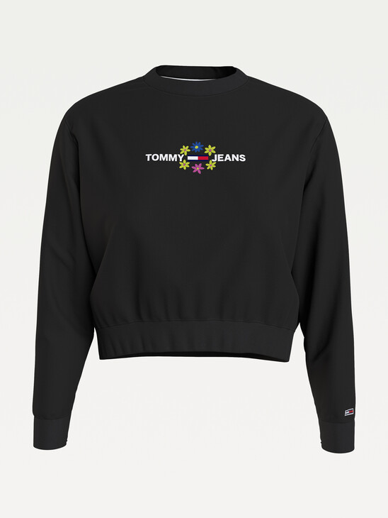 Floral Logo Cropped Sweatshirt