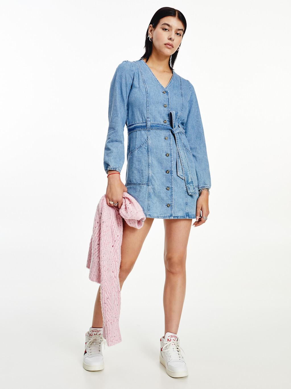 Denim Belted Mini Dress