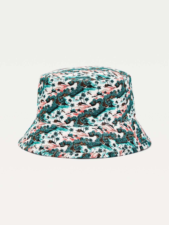 Reversible Tropical Palm Print Bucket Hat