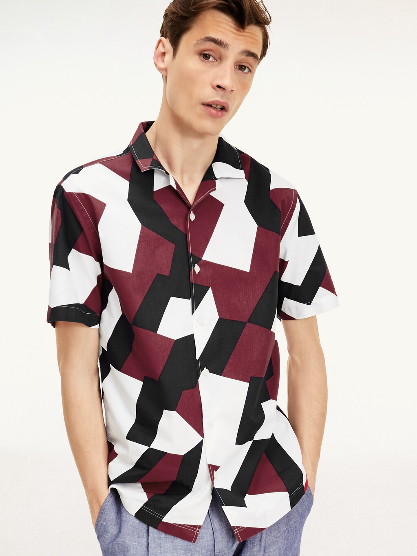 Geometric Regular Fit Short Sleeve Shirt
