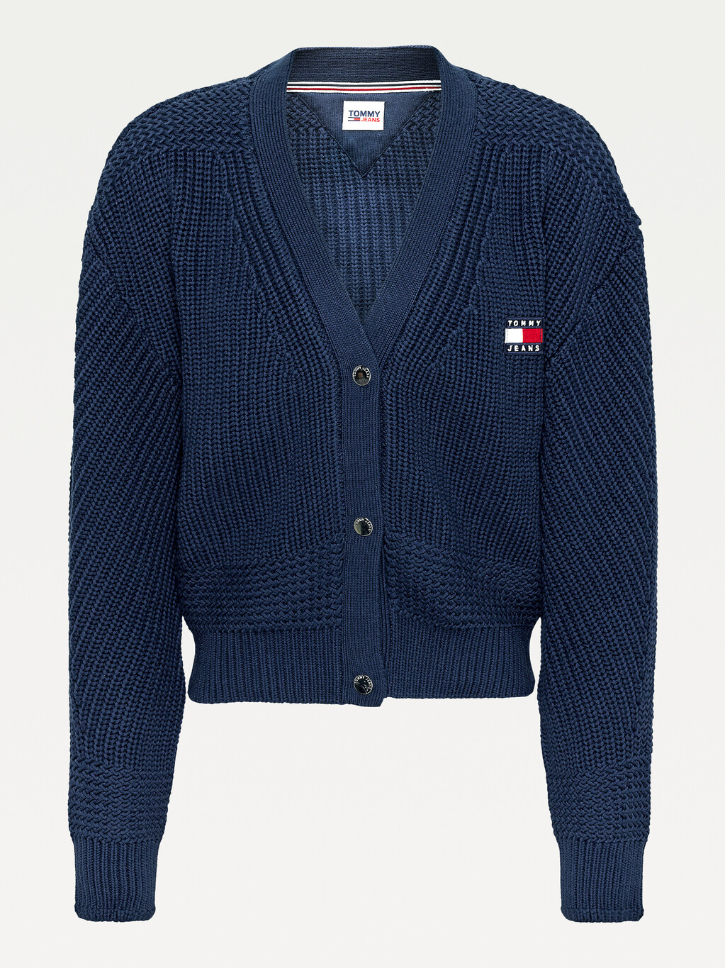 Tommy Badge Mixed Knit Cardigan