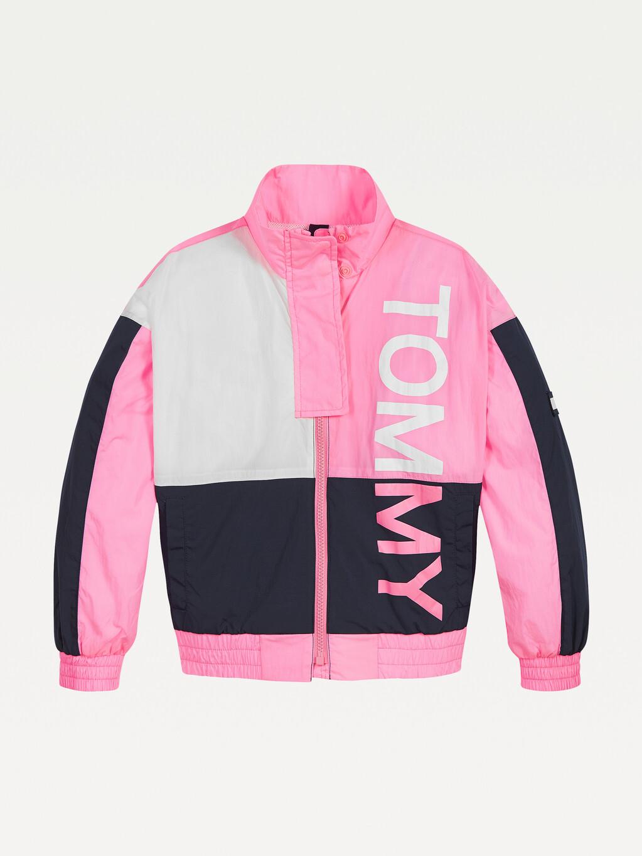 Colour-Blocked Logo Jacket