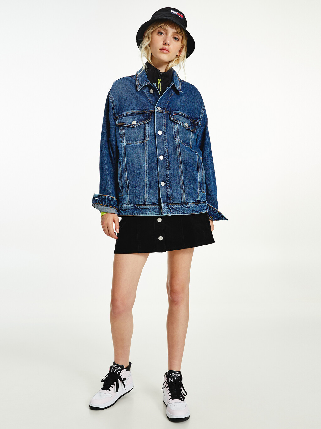 Tommy Badge Embroidery Oversized Trucker Jacket