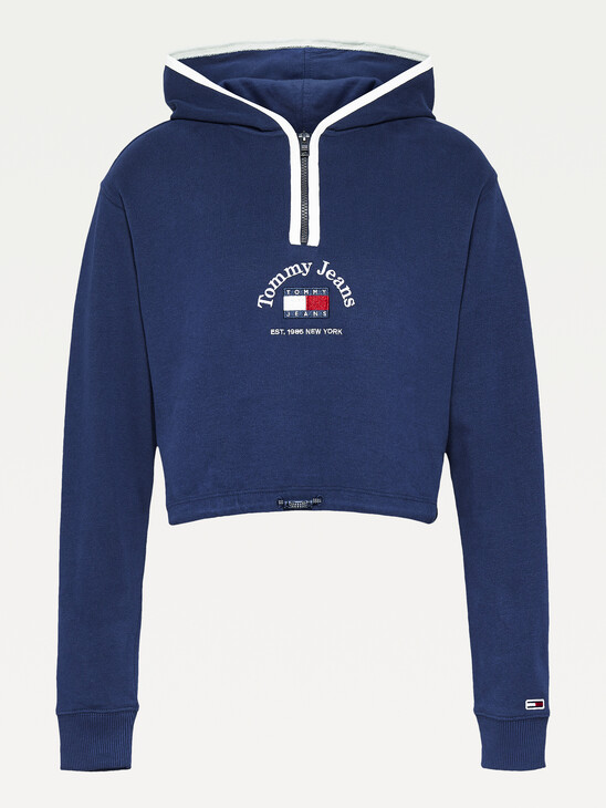Tommy Badge Cropped Hoody