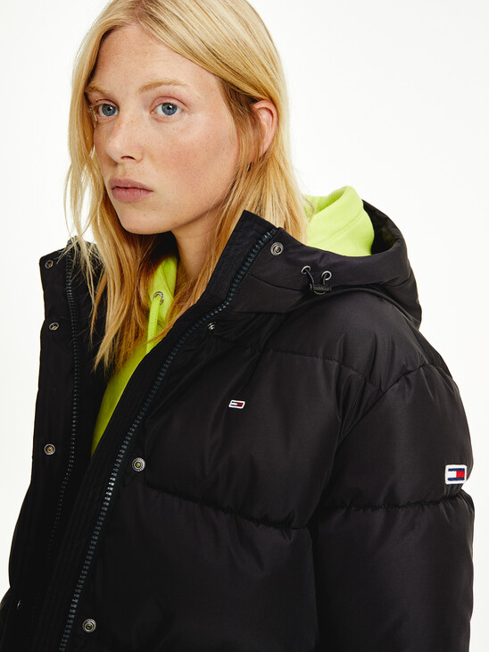Hooded Belted Faux Down Puffer Jacket