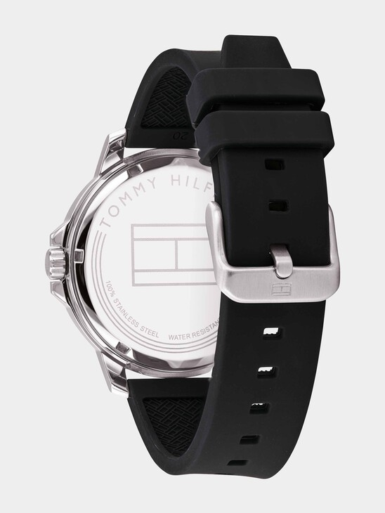 Stainless Steel Watch With Black Brown Silicone Strap