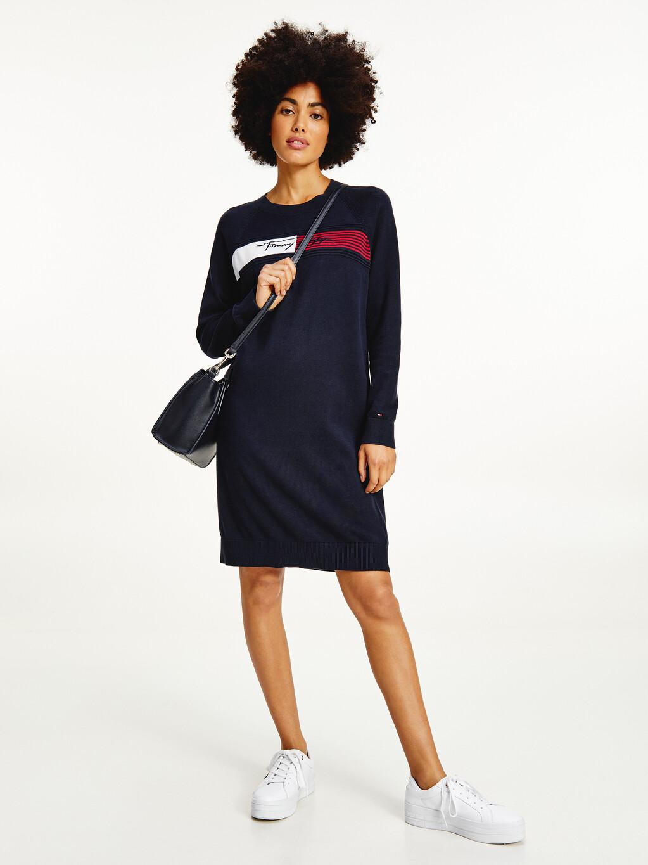 Signature Logo Embroidery Knit Dress