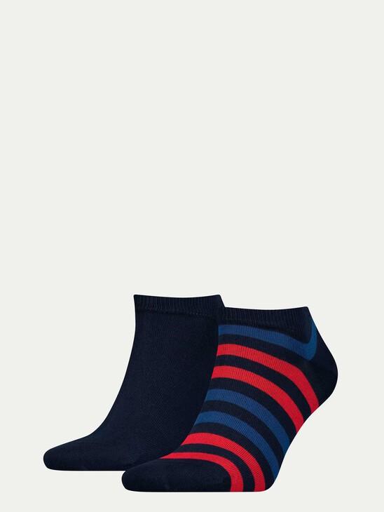 Two-Tone Stripe Sneaker Socks