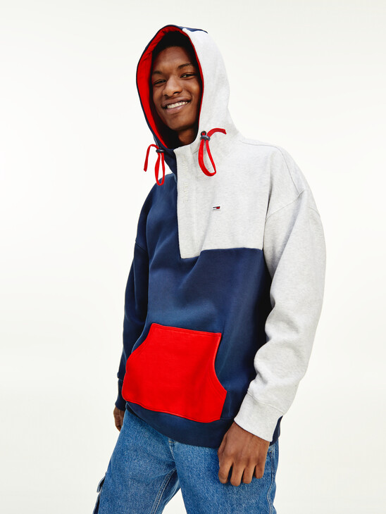 Colour-Blocked Toggle Cord Hoody
