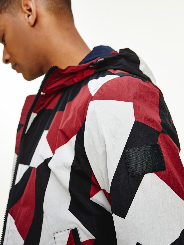 Lightweight Geometric Print Hooded Jacket