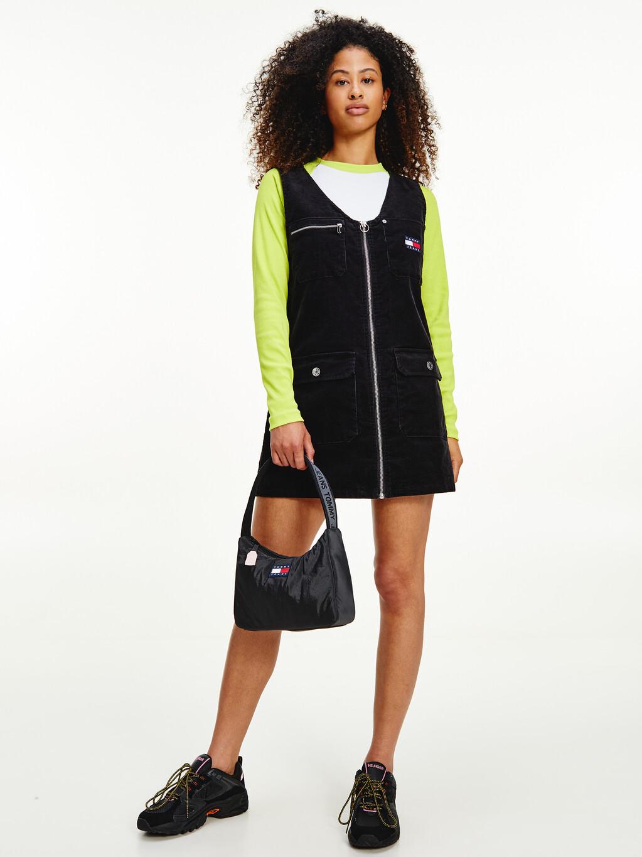 Tommy Badge Corduroy Zip-Thru Mini Dress