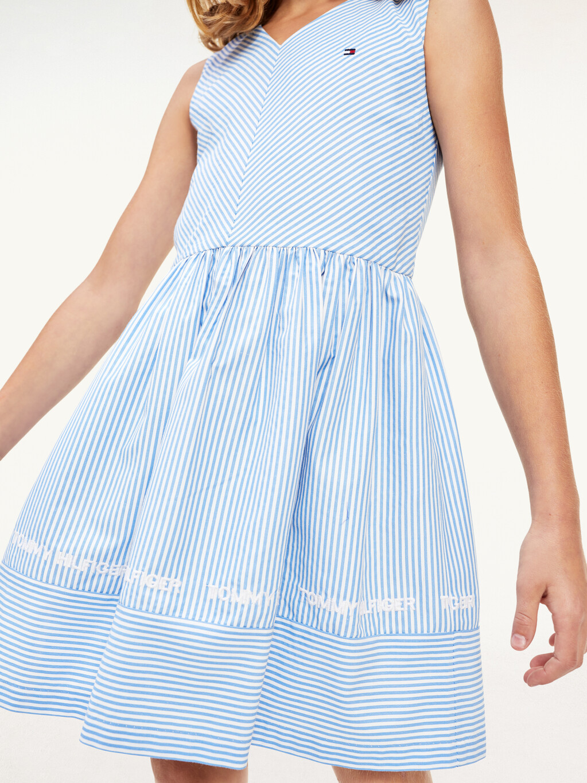Stripe V-Neck Sleeveless Dress