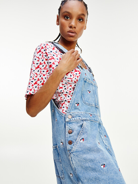 Tommy Badge Embroidery Denim Dungaree Dress