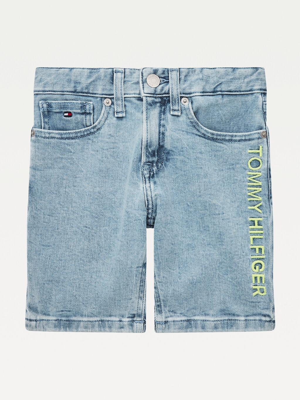 Spencer Logo Embroidery Denim Shorts