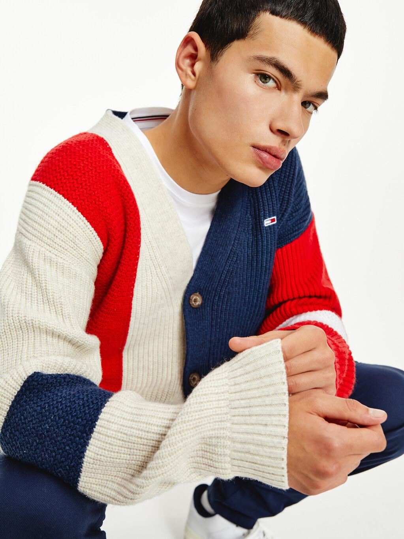 Colour-Blocked Rib-Knit Cardigan