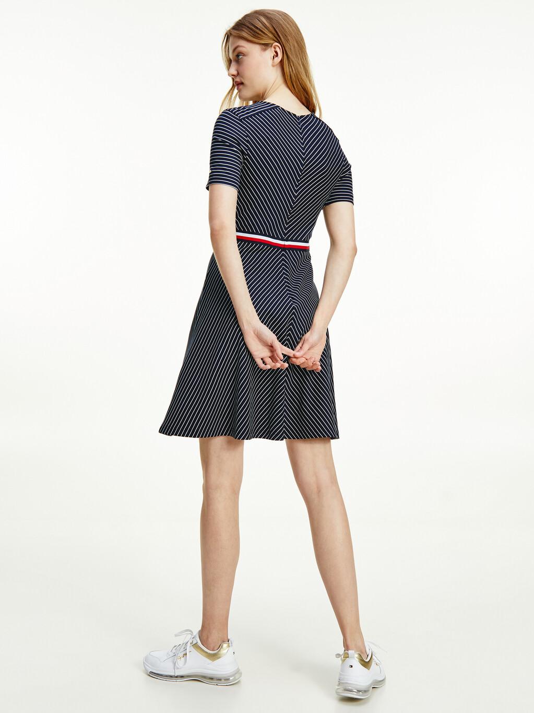 Fit And Flare Herringbone Stripe Dress