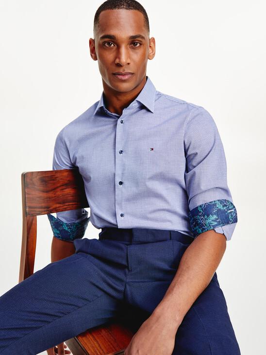 Micro Check Cotton Shirt