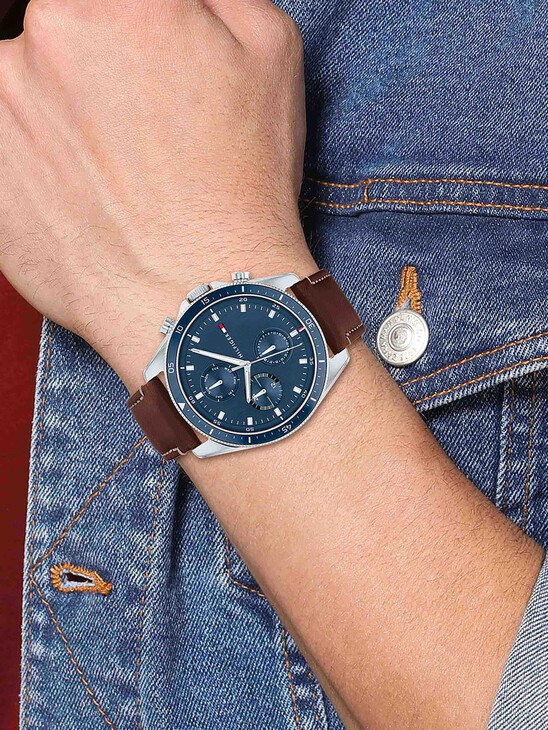 Stainless Steel Watch With Brown Leather Strap