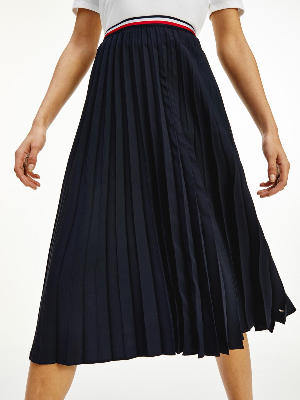 Crepe Signature Waistband Pleated Midi Skirt