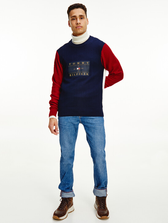 Icons Colour-Blocked Mixed Knit Jumper