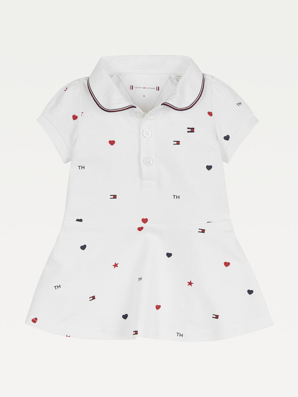 Star And Heart Print Polo Dress