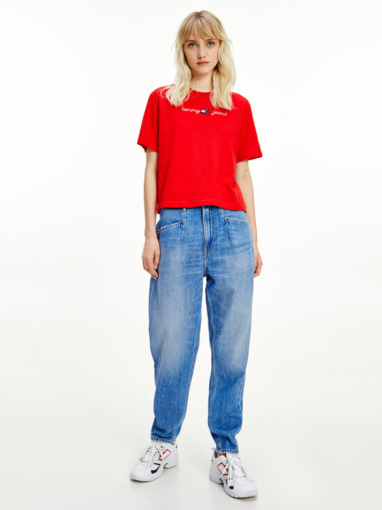 Embroidery Cropped T-Shirt