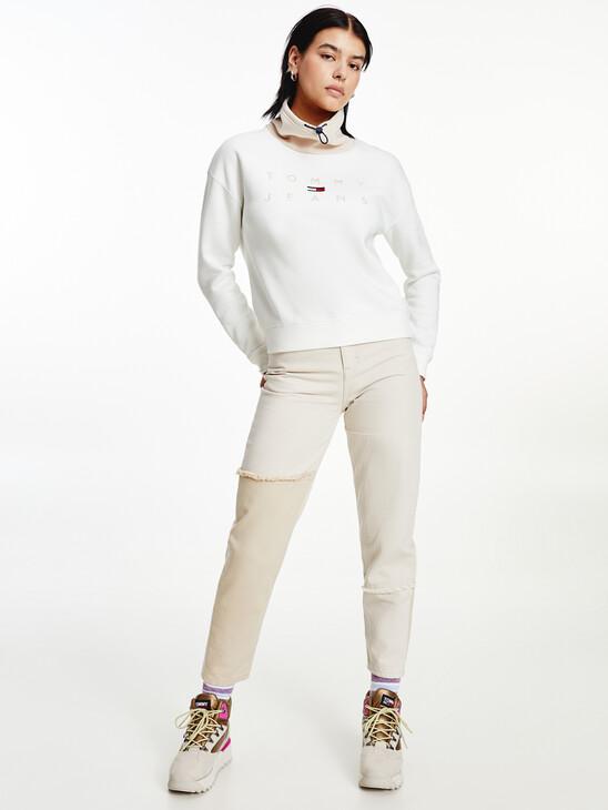 Boxy Tonal Logo Funnel Neck Sweatshirt