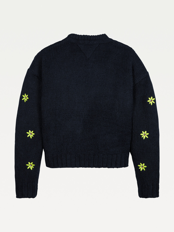 Flower Embroidery Crew Neck Jumper