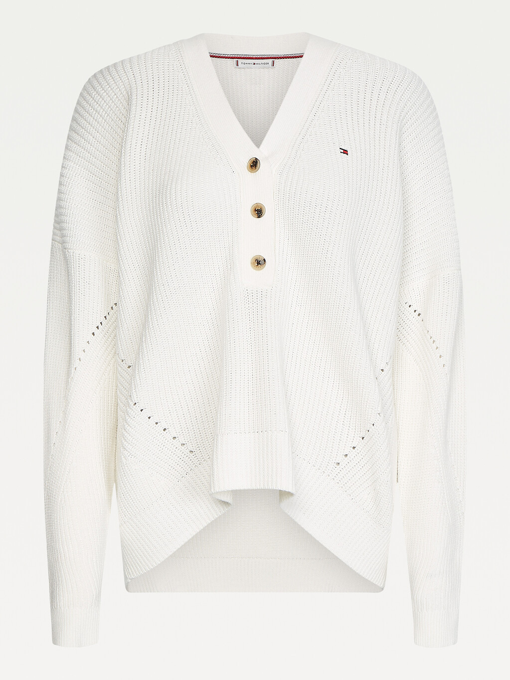 Henley Ribbed Texture Jumper