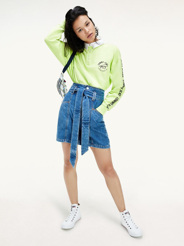 Bow Detail Belt Faded Denim Skirt