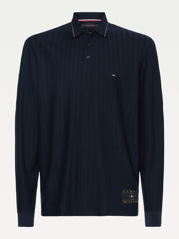 Herringbone Long Sleeve Regular Fit Polo