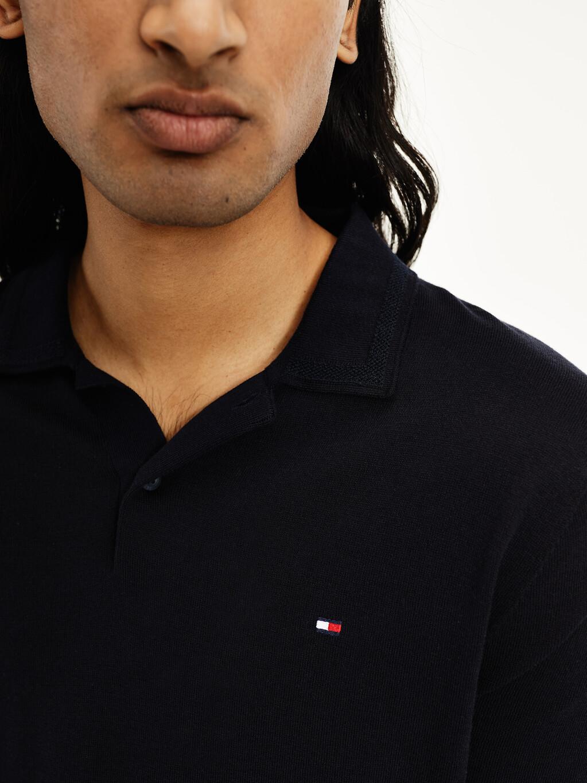 Tonal Collar Knitted Polo