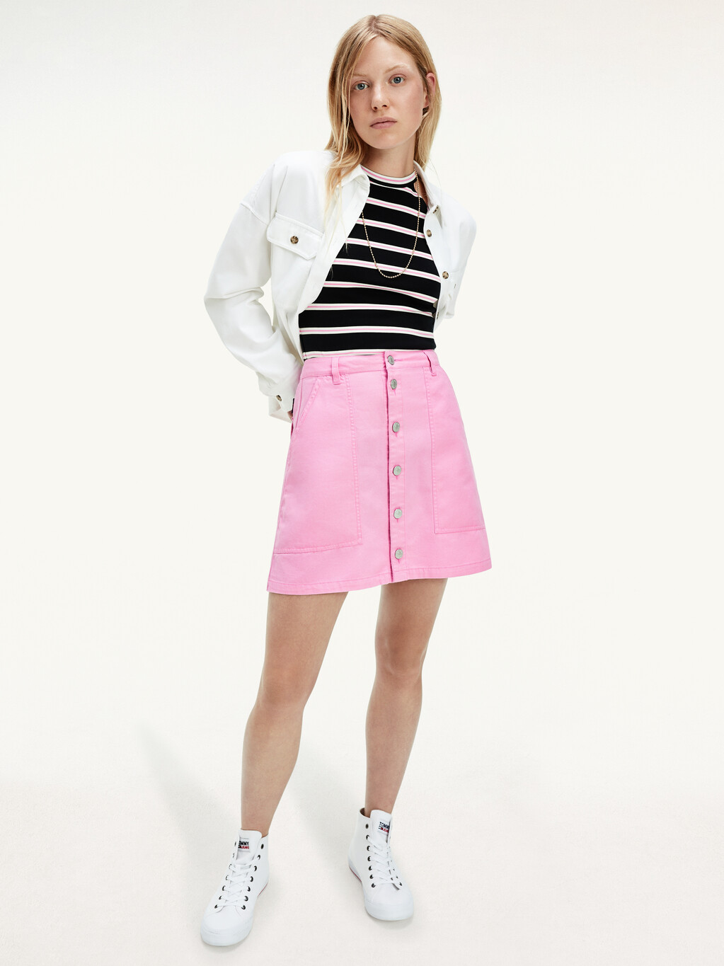 Tommy Badge Cropped Utility Shirt